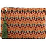 Otto Angelino Pochette di Design da Donna in tessuto con Nappina sulla Zip - Perfetta per organizzare la borsa, per trucchi,