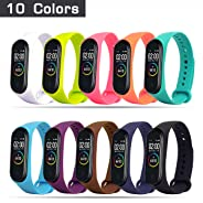 HITO 10pcs Xiaomi Mi Band 3/4 Strap Replacement, Soft Silicone Strap Wristband WatchBand Accessories for Xiaomi Mi Band 3/4 (