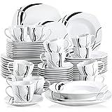 VEWEET Fiona 60pcs Service de Table Porcelaine 12pcs Assiette Plate, Assiette à Dessert, Assiette Creuse, Tasse avec Soucoupe