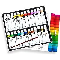 perfect ideaz kit di colore acrilico colorato con 24 tubi da 12 ml, con pennello, 22 diversi colori da pittura creativi…