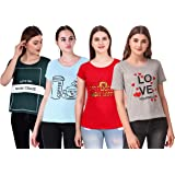 NIVIK Women's T-Shirt (Pack of 4) (CMB4-T-SHIRT-GRN-RED-BLU-GREY_Multicolored_X-Small)