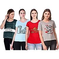 NIVIK Women's T-Shirt (Pack of 4) (CMB4-WOMEN-TSHIRT-RED-BLU-GRN-GRY-S_Red_Small)