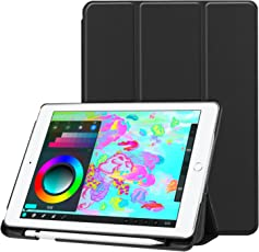 """ProElite Smart Trifold Flip Case Cover for Apple iPad 9.7"""" 2017 2018 (A1822/A1823/A1893/A1954) (Black) with Pencil Holder"""