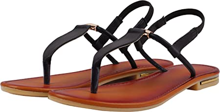 Jking Footwear Flat T-Strap Casual Party Formal Synthetic Leather Sandals for Women & Girls