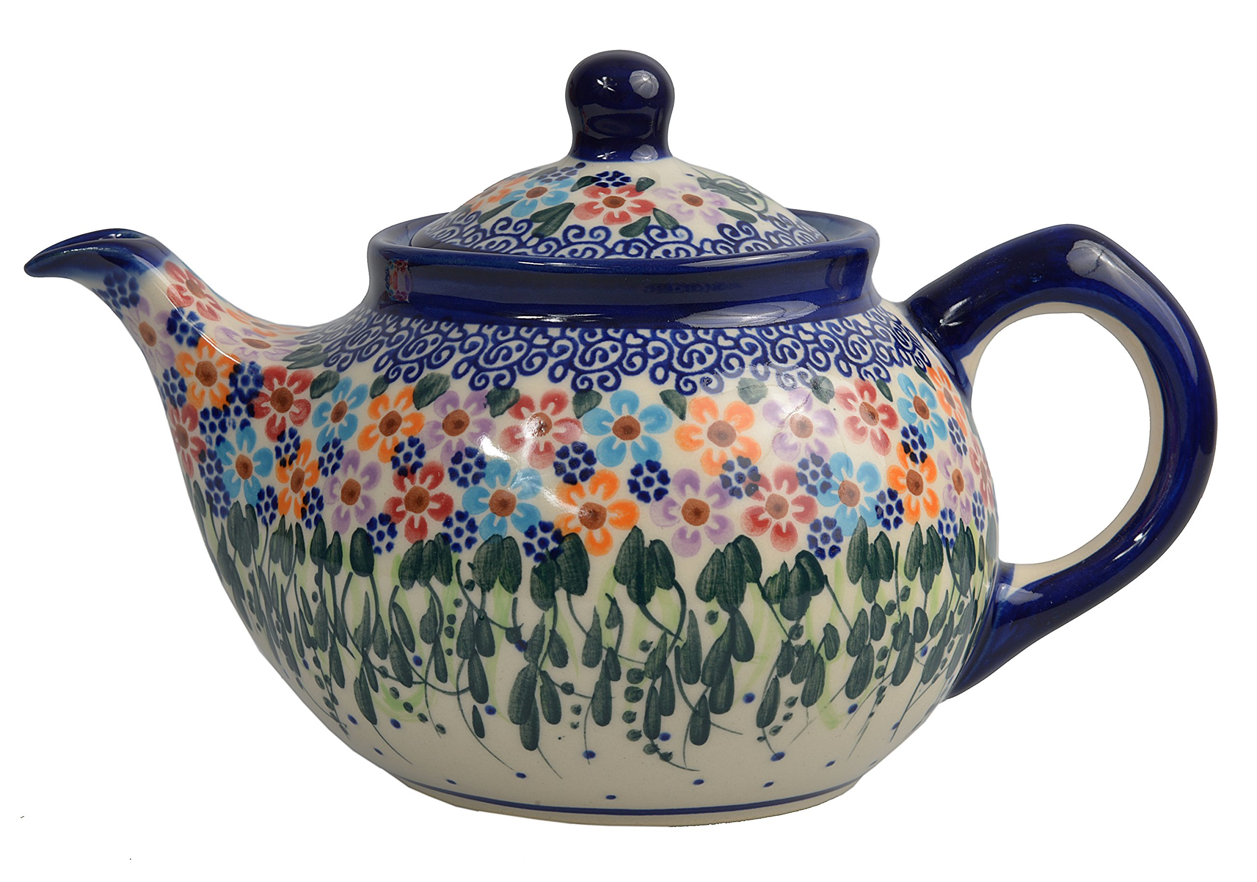 Traditional Polish Pottery, Handcrafted Ceramic 4-Cup Teapot with Lid (850ml), Boleslawiec Style Pattern, H.102.Daisy