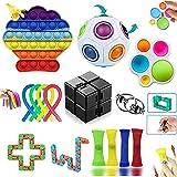 Fidget Toys Pack, Fidget Toys Simple Dimple Fidget Toy pour Soulager le Stress et l'anxiété, Anti Stress Jouet pour Enfants,
