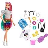 Barbie - Bambola Bionda con Capelli Arcobaleno, Cerchietto e Borsa a Forma di Gatto e Accessori a Tema Leopardo, Giocattolo