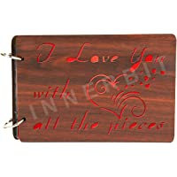 innerbit™ 'I Love You with All The Pieces' Artistic Wooden Photo Album Scrap Book 30 Pages - Size (25 cm x 15 cm) Gift Item