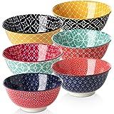 DOWAN Porcelain Cereal Bowls, 23 Fluid Ounces Vibrant Colors Soup Bowls, Cute Oatmeal Bowls for Pasta, Small Salad, Stews, Ri