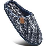COFACE Zapatillas de Estar en Casa Hombre Tartán Invierno Forro de Cálido Pantuflas Alta Densidad Espuma de Memoria Zapatos c