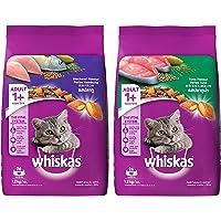 Whiskas Adult (+1 Year) Dry Cat Food, Mackerel Flavour, 1.2kg Pack & Whiskas Adult (+1 Year) Dry Cat Food, Tuna Flavour…