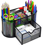 Pipishell Desk Organiser, Mesh Desk Tidy & Pen Holder with 8 Compartments and 1 Drawer, Stationery Organisers for Home, Offic