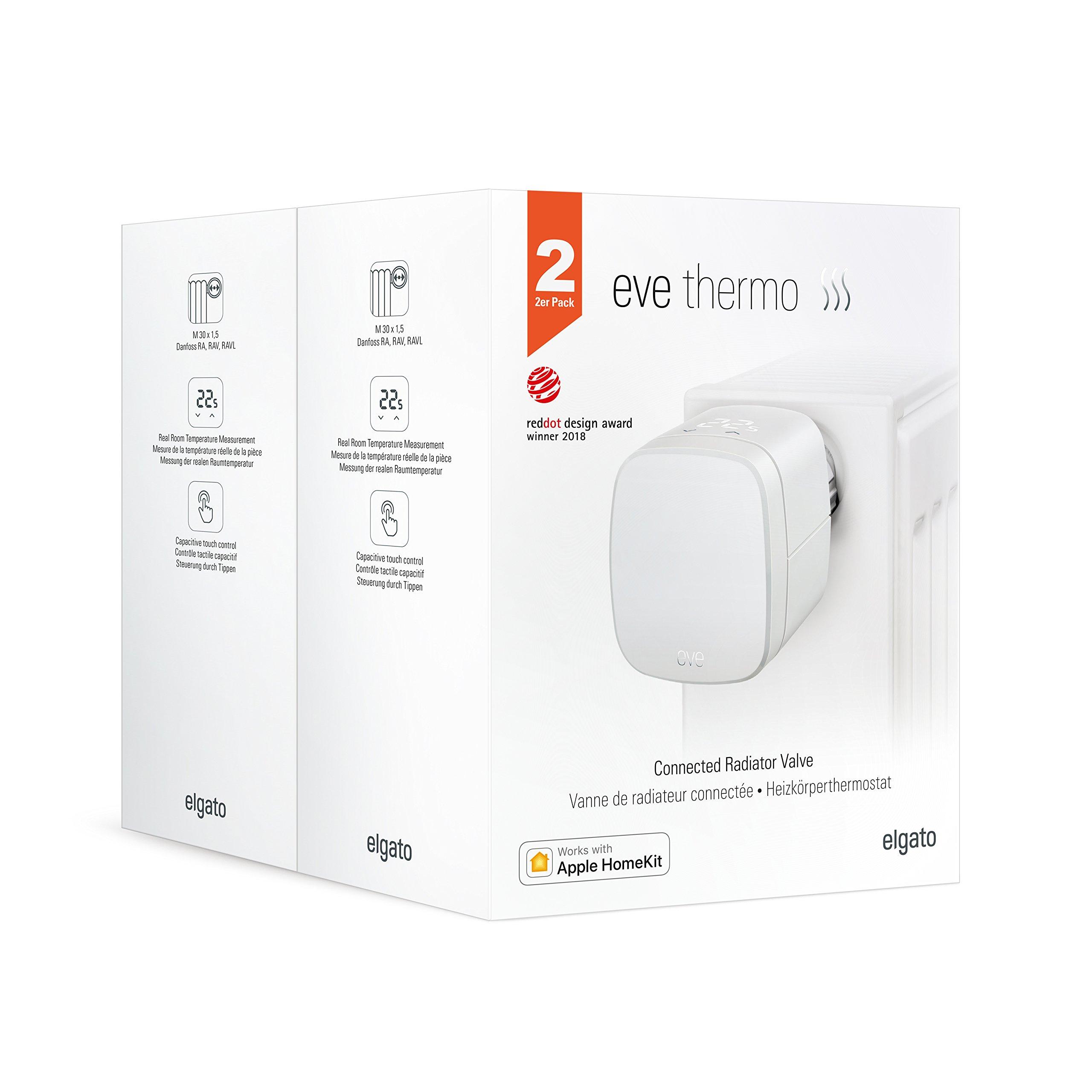 Eve Thermo (x2 Pack) – Vanne de radiateur thermostatique, contrôle automatique de la température, commandes tactiles intégrées, sans passerelle intermédiaire (Apple HomeKit)
