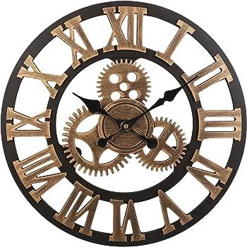 Soledi Horloge murale européenne Vintage fabriquée à la main 3D Roue dentée  décorative en bois ( 09625d61d7ec