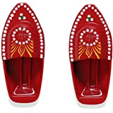 KRIWIN Set of 2 Red Hand Painted Fun Steam Powered Tin Toy Boat Nav Pop Put Putt Candle Powered Fuel Flame with Free…