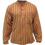 Multi Color Mix dharke Stripes Light Weight Comfy Long Sleeves Traditional Grandad Shirt,Hippy Boho