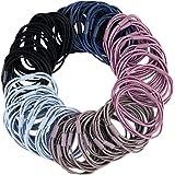 50 elastici per capelli neri 3 in 1, per ragazze, elastici per capelli per coda di cavallo, supporto per capelli spessi, ricc