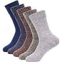 SIMIYA Mens Wool Socks Winter Socks Knitting Soft Warm Thick Socks for Boots Ski Hiking (5 Pairs)
