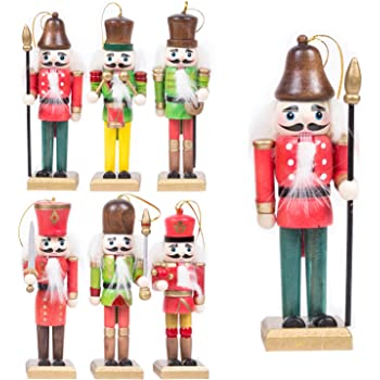 pack of 6 traditional wooden nutcracker soldiers christmas tree hanging decorations