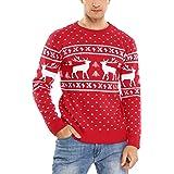 Aibrou Maglie Natale Uomo,Maglione Natalizio Uomo Manica Lunga Lavorato a Maglia, Maglione Pullover Uomo per Xmas Inverno
