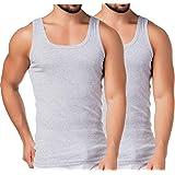 BestSale247 - Canottiera intima classica da uomo, a coste sottili, 100% cotone, confezione da 2 o 4 pezzi, colore: Bianco/Ner