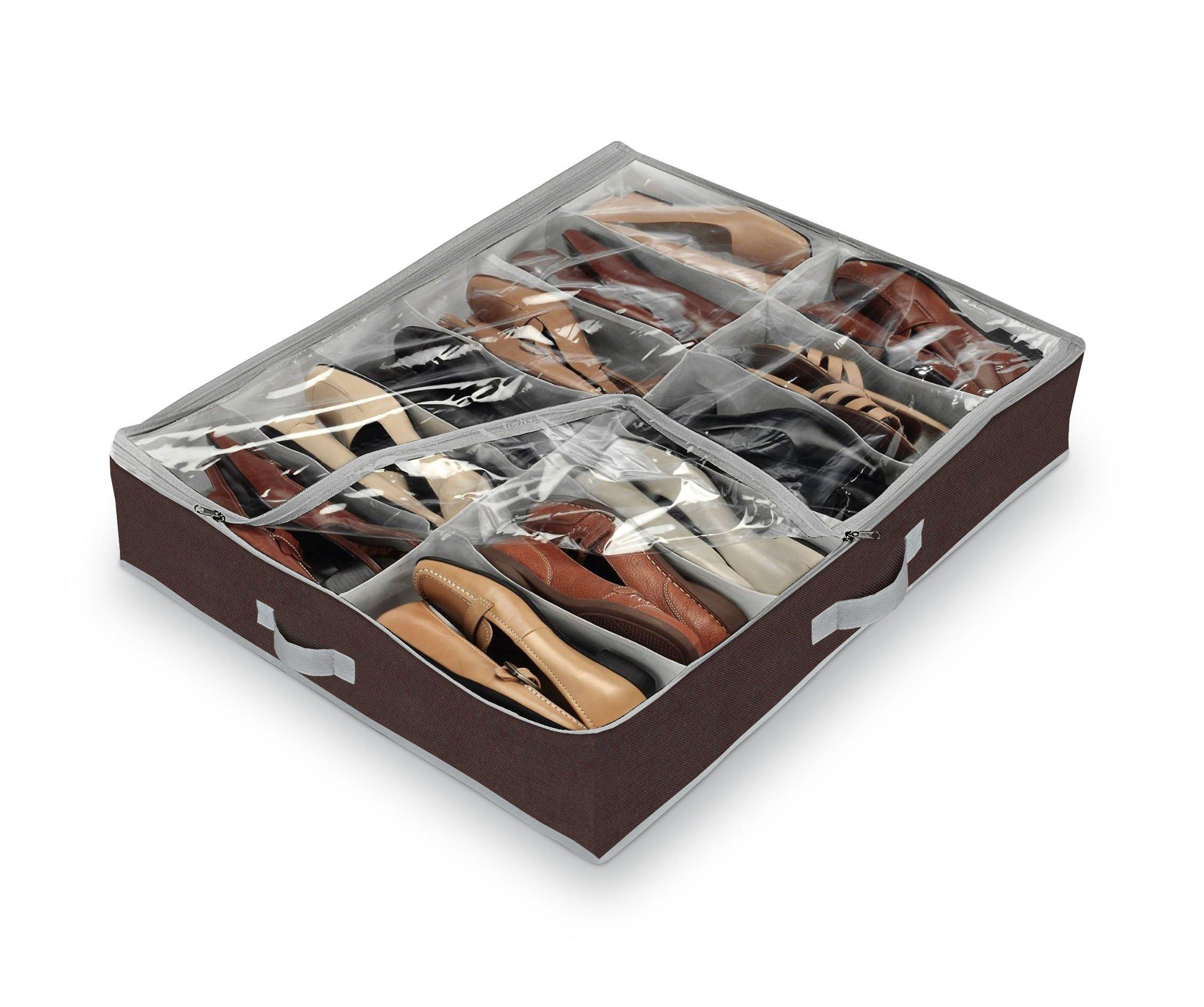Domopak – Organizador de calzado para debajo de la cama (tamaño grande, 12 compartimentos), color marrón