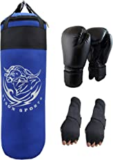 Byson Boxing Set for Men's and Adult's Strong and Rough 3 FEET Punching Bag with Boxing Gloves and Hand Wrap Gloves (Heavy Bag)