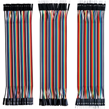 ELEGOO Lot de 120pcs Câbles Dupont Breadboard 28AWG 3 en 1 [40Pin Mâle vers Femelle, 40Pin Mâle vers Mâle, 40Pin Femelle vers Femelle] Longueur 20cm pour Arduino UNO Mega 2560 Nano ou Plaque d'Essai