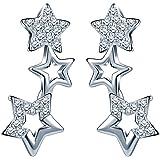 Infinite U - Pendientes de Plata de Ley 925 con Circonitas Cúbicas y Diseño de Pequeñas Estrellas a lo Largo de la Oreja, Col