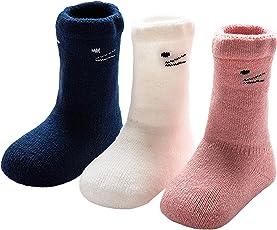 ANIMQUE Baby Winter Socken Dicke Cartoon Tiere 0-36 Monate Neugeborene Kleinkind Jungen Mädchen Baumwolle Söckchen Warm 3er Pack