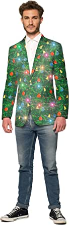 Suitmeister Light-Up Chirstmas Jackets for Men in Different Prints – Ugly Xmas Sweater Costumes Include Jacket Only