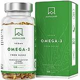 Omega 3 Vegano AAVALABS [ 1100 mg ] - de Aceite de Algas de Origen Vegetal Sostenible 600 mg DHA + 300 mg EPA por Dosis Diari