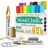 Blami Arts - Rotuladore de Tiza Líquida Pack de 14 - Borrador y 18 Etiquetas Reutilizables - Marcadores Efecto Tiza Borrables