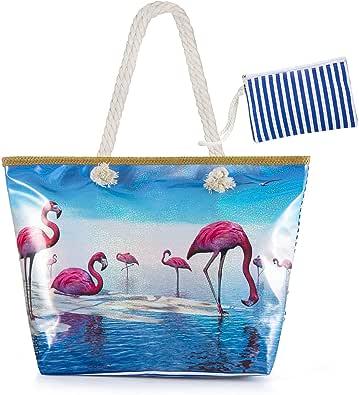 Sac de Shopping Sac fourre-tout /à la plage Pour Femme et Filles MOOKLIN Sac de Plage Vacances Fourre-Tout Grand Avec Zip