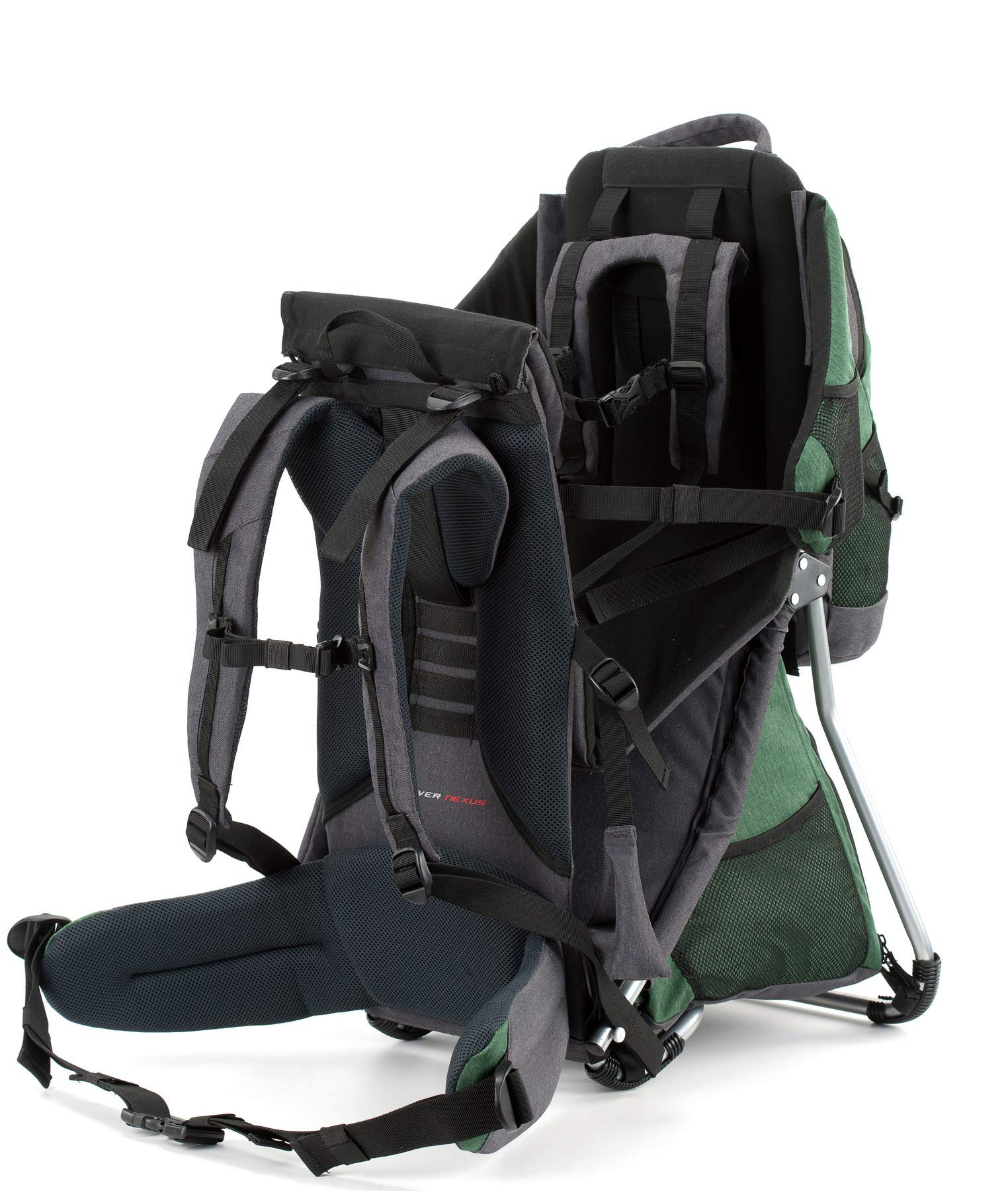 Montis HOOVER NEXUS, Child Hiking Backpack Carrier, suitable for babies & toddlers with a stable seat, low weight suitable, many extras, premium quality (GREEN) M MONTIS OUTDOOR ✅ SAFE - Practical baby carrier backpack completely adjustable with wide 5-point child harness for children weighing up to 25 kg instead of 20 kg. Thanks to height-adjustable seat cushions, padded side panels, a rear headrest, and forehead cushions, it is ideal for hiking in the city or in the country. With reflective elements on the front and back for night protection. ✅ COMFORTABLE - Suitable for both parents thanks to adjustable shoulder straps, a 14 cm adjustable chest strap with a vertical position for women's ergonomics, and reinforced back area (incl. ventilation system) with load distribution to the pelvic belts. We use materials of the highest quality and focus on flawless manufacturing. ✅ SPACIOUS - Removable additional backpack 10L and seat pocket with 18L volume provide the carrier with additional storage space for water bottles, rain protection, sun protection, changing mat and much more. In addition, the straps of the baby carrier are equipped with small quick-access pockets to avoid the need of constantly taking off the carrier. 6