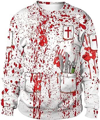 Ocean Plus Men's Digital Print Hoodie Crewneck Halloween Theme Sweatshirt Christmas Unisex Long Sleeve Pullover