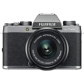 """Fujifilm Kit X-T100 Fotocamera Digitale 24MP, Mirino EVF, Schermo LCD Touch da 3"""" Inclinabile a 180°, WiFi e Bluetooth + XC 15-45mm F/3.5-5.6 OIS PZ MILC, 24.2MP, CMOS, Argento Scuro"""