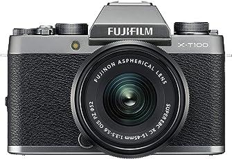 Fujifilm X-T100 Systemkamera (24,2 Megapixel, 7,6 cm (3 Zoll) Touch-Display, APS-C-Sensor) Kit inkl. XC15-45mm F3.5-5.6 OIS PZ Objektiv dunkelsilber