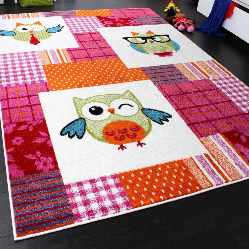 Kinderzimmer teppich  Teppich Kinderzimmer Trendige Eulen Kinderteppich Eule Mehrfarbig ...