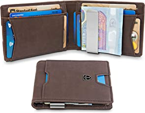 TRAVANDO ® Geldbeutel mit Geldklammer Bogota - 11 Kartenfächer - Kleines Münzfach - Schlankes Portemonnaie - RFID Schutz - Vintage-Leder-Optik - Geschenk Box - Designed in Germany