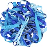 Luxbon Ruban en Satin Organza Gros-Grain Imprimé Paillettes Blanches pour Artisanat DIY Cadeau Lot de 10pcs 2 Mètres Bleu 20