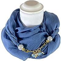 Sciarpa Gioiello Tinta Unita Blu Jeans, Dettaglio Staccabile In Chiusura, Creato Con Catena Impreziosita Con Perle…