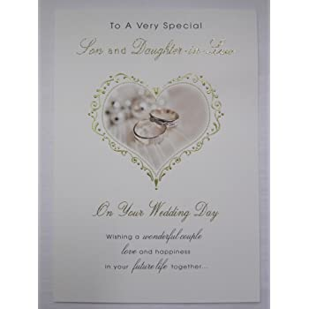 WHITE COTTON CARDS BD29 To A Special Son and Daughter-in-Law Congratulations on Your Wedding Day