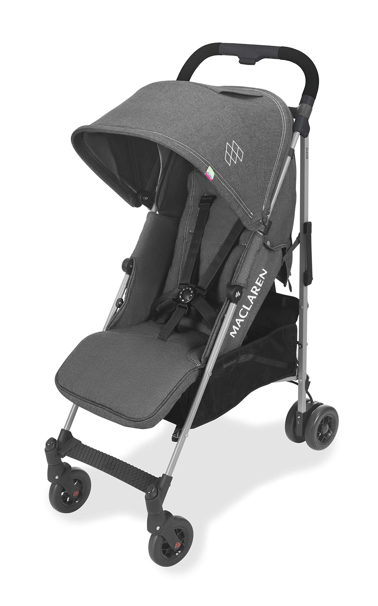 Maclaren Quest Arc Stroller- Ideal for Newborns up to 25kg with extendable UPF 50+/Waterproof Hood, Multi-Position seat and 4-Wheel Suspension. Maclaren Carrycot Compatible. Accessories in The Box Maclaren Lightweight and compact. ideal for newborns and children up to 25kg. you can do it all with one-hand- open, close, push and adjust the seat, footrest and front safety lock Comfy and perfect for travel. the quest arc's padded seat reclines into 4 positions and converts into a new-born safety system. coupled with ultra light flat-free eva tires and all wheel suspension Smart product for active parents. compatible with the maclaren carrycot. all maclaren strollers have waterproof/ upf 50+ hoods to protect from the elements and machine washable seats to keep tidy 8
