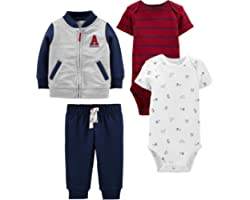 Simple Joys by Carter's Baby-Boy's 4-Piece Fleece Jacket, Pant, and Bodysuit Set