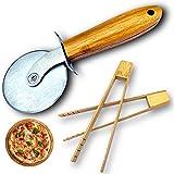 Roulette Pizza et 2 pinces bois bambou, coffret original couteau rouleau acier inoxydable service baguette et coupe pizza ita