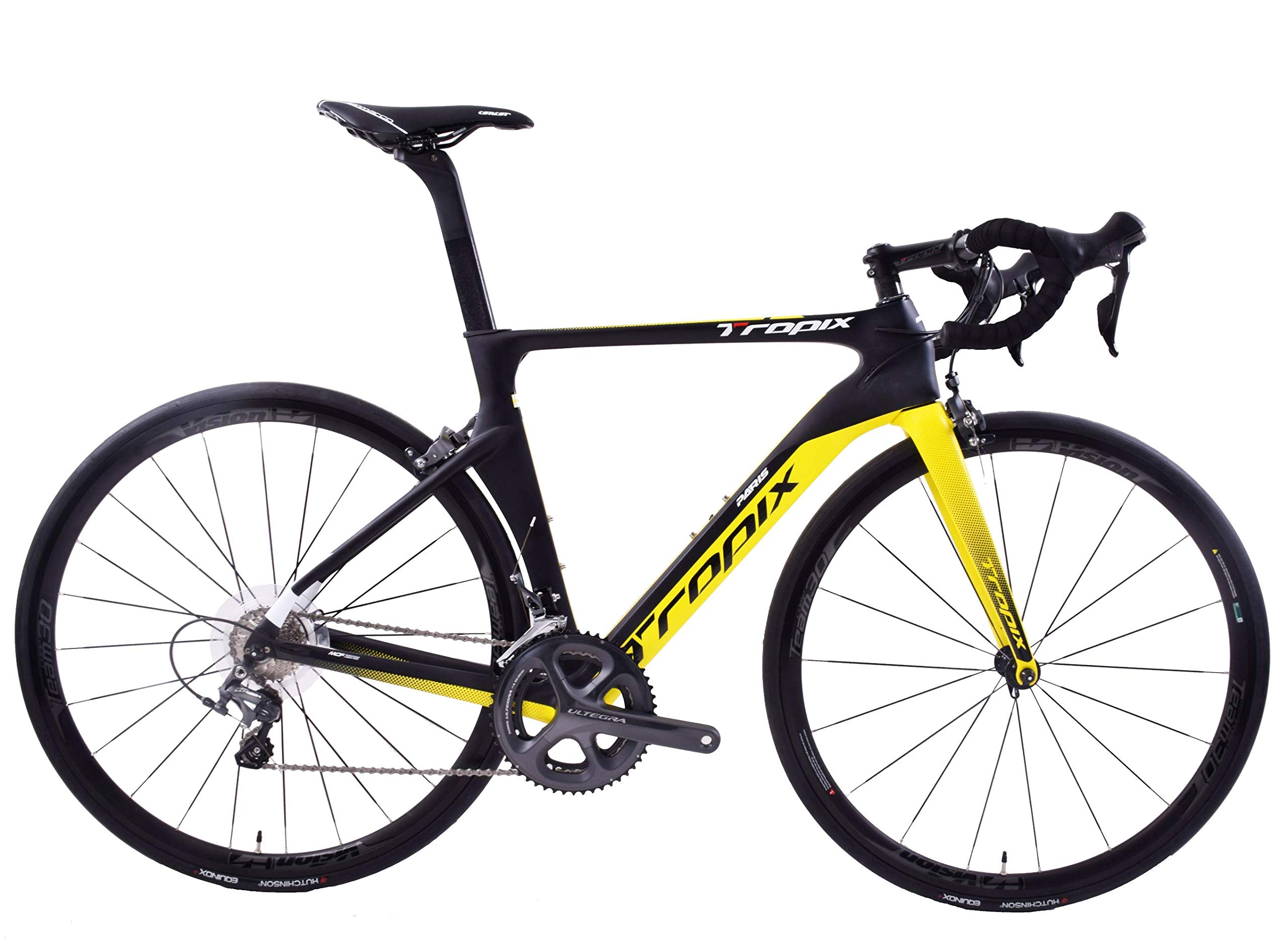 81ypW5bOItL - Tropix Paris 700c Wheel Road Racing Bike 52cm Lightweight Carbon Fibre Frame Shimano Ultegra 22 Speed Black/Yellow 8.3 Kgs