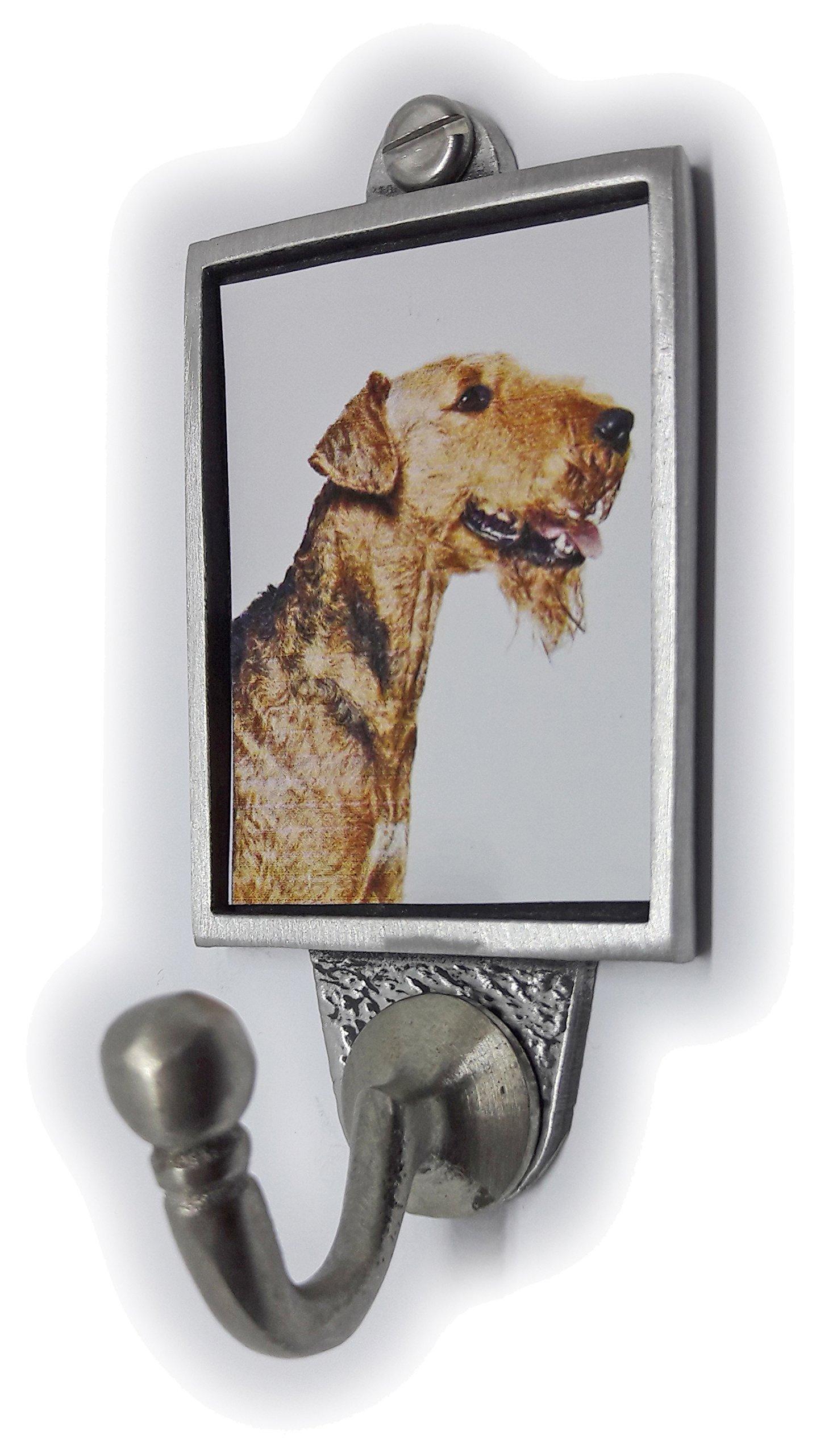 Stoneys Badges Airdale Terrier Dog Lead Hook/Key Hook/Coat Hook Pewter