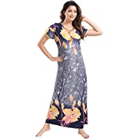 YKI Women's Synthetic Print Maxi Night Gown