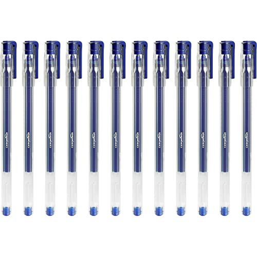Amazon Basics - Penne gel esagonali, blu, confezione da 12
